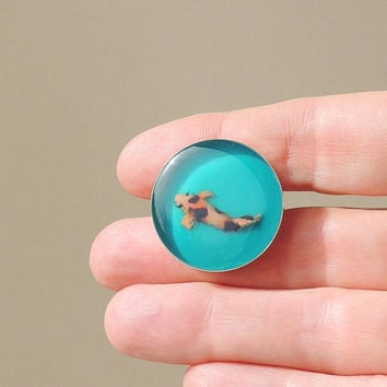 Koi Brooch, Koi Carp Fish Resin Brooch, Koi Jewelry, Resin Jewelry, Swimming Fish, Teal Orange, Diorama Jewelry (1896)