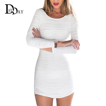 2016 Elegant Backless Stripped Jersey Long Sleeve Mini Dress Women Summer White Sexy Club Bandage Bodycon Dresses F004137