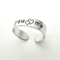 Couple ring heart ring - You and Me ring - Boyfriend ring girlfriend ring - Couples rings - Relationship ring