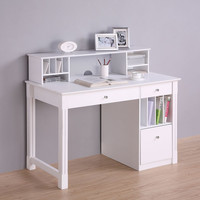Walker Edison Deluxe White Wood Computer Desk with Hutch