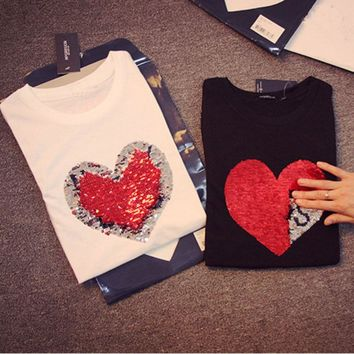 Colorful Variety Sequins Hearts Cotton T-Shirts Reversible Sequin magical color changing sequins Tees shirts Discoloration Tops