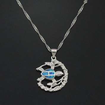 Silver Plated Necklace with a Natural Stone Fire Opal Turtle Pendant