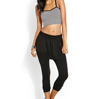 FOREVER 21 Daring Zippered Harem Pants Black