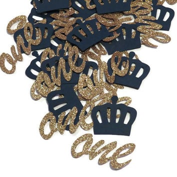Royal Prince one confetti, crowns, ready in 3-5 weekdays, navy and gold, cursive ones, babys first birthday