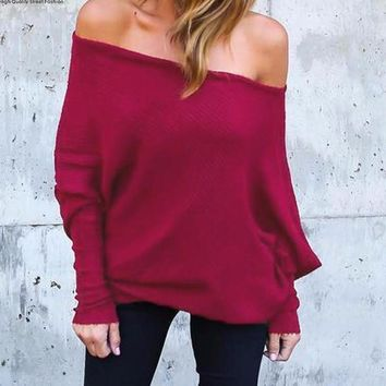 2017 Autumn Fall off shoulder, Sexy, Long sleeve,  Batwing sleeve, tops, ladies shirts, blouse. sizes Small through 5 XL, S-5XL, Colors it comes in rose, gray and black
