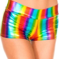 Rainbow Metallic Booty Shorts