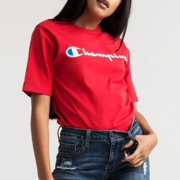 Champion Women's Tee in White, Black, Oxford Grey, Team Red Scarlet, Surf The Web