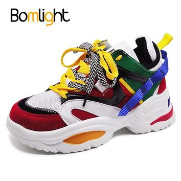 Bomlight Trendy Women Sneakers Thick Sole Ladies Platform Shoes Web Celebrity Chunky Dad Sneakers Chaussures Femme Buty Damskie 1