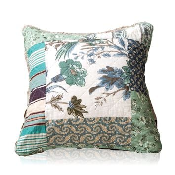 Tache 2 Piece 100% Cotton Floral Patchwork Forest Glade Green Cushion Covers (TAJHW-650-CC)