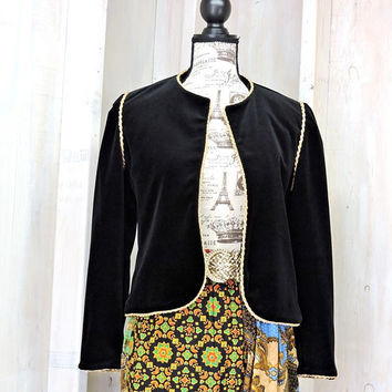 Womens Black velvet jacket /  Vintage 80s velvet blazer with gold trim / formal / evening