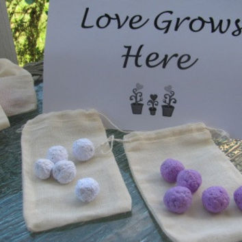 Set of 100- Plantable paper Wildflower seed ball favors in muslin drawstring bags