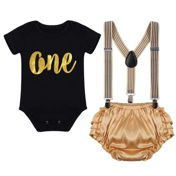 Newborn Baby Girls Boys First Birthday Cake Smash Outfits Romper +Suspenders +Pants Photo Set One Year Clothing Shorts 3pcs Set