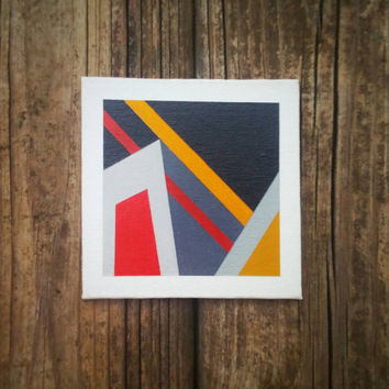 Abstract Geometric Acrylic Painting Tiny Modern Canvas Art Contemporary Home Decor Minimalist Wall Art OOAK