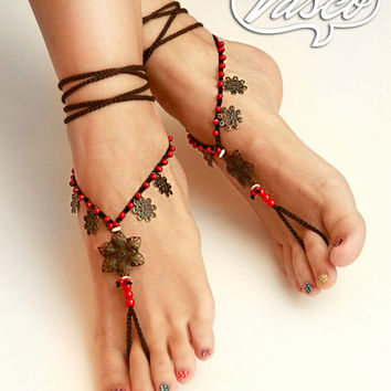 Oriental Barefoot Sandals. Bellydance Shoes, Gypsy Shoes