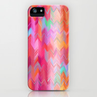 Colorful painted chevron pattern - pink, purple, yellow, orange iPhone & iPod Case by micklyn