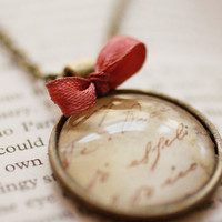 Vintage style hand writing pendant with a pink tiny bow tie, necklace glass cabochon, glass dome jewelry, romantic gift