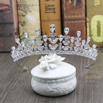 Vintage Baroque Queen King Bride Tiara Crown For Women Cubic zirconia Wedding Tiaras and Crowns Hair Jewelry Accessories H-008