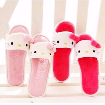 Xingkings New Hello Kitty Women thin light home slippers home Plush shoes KX-L2120