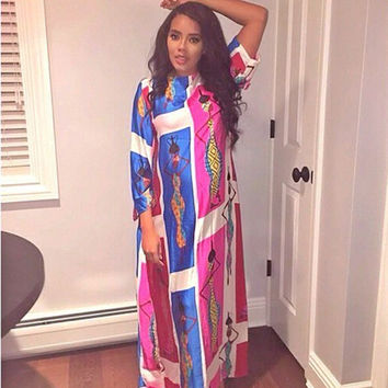 Long Sleeve African Print Maxi Dress