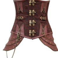 Brown Brocade Victorian / Steampunk Under Bust Steel Boned Corset  Aussie Seller