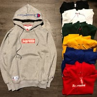 Supreme  Champion flame men and women long sleeve sets