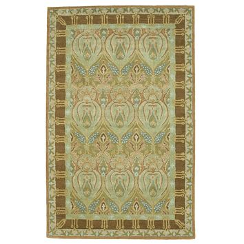 EORC Hand-tufted Wool Green Traditional Floral Morgan Rug