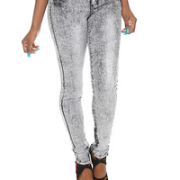 LOVEsick Black Acid Wash Super Skinny Jeggings