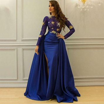 Royal Blue Sexy Slits Evening Dresses Long Sleeves Luxury Beadings Illusion Lace Vestido De Festa 2017  Photos