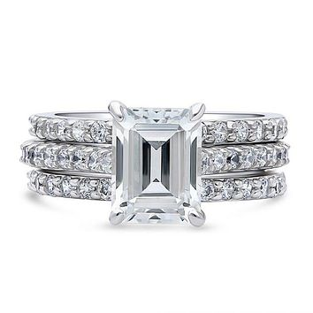 A Perfect 2.5CT Emerald Cut Russian Lab Diamond Bridal Set