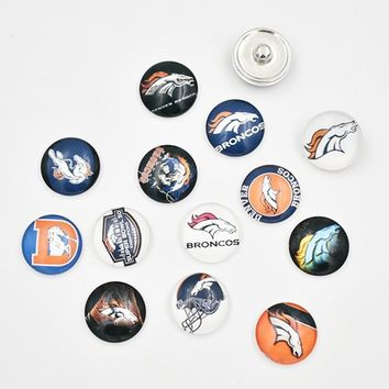 Newest Denver Broncos Snap Buttons 18MM Glass Football Team Snap Charms Fit Snap Bracelet Necklace (Mixed 50pcs or Single 10pcs)