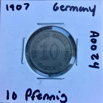 1907 German Empire 10 Pfennig Coin A0024
