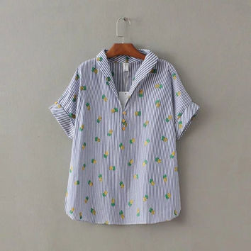 Summer Print Strong Character Plus Size Short Sleeve Pullover Shirt [8173556103]