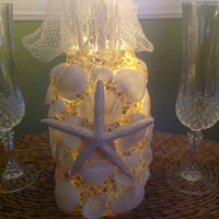 Seashell Decor, Starfish Centerpiece, Beachy Flameless Lighting