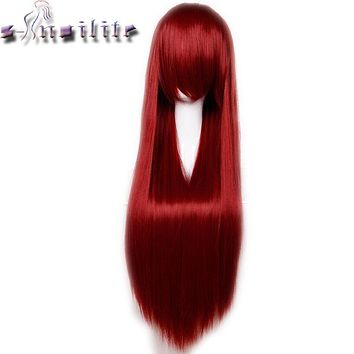 S-noilite 80cm 32 inches Long Straight Wig Heat Resistant Synthetic Hair Party Cosplay Wigs Red Purple Pink Black Blonde