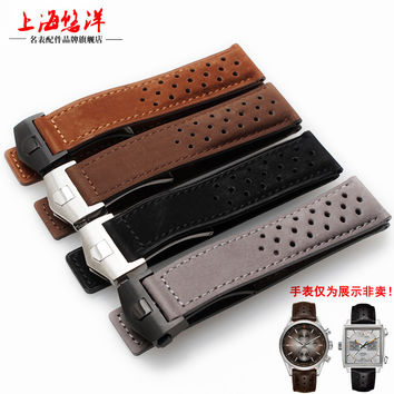 Hight Quality 22mm genuine leather watchband new pattern scrub strap brown  bracelet watch accessories+Free tools