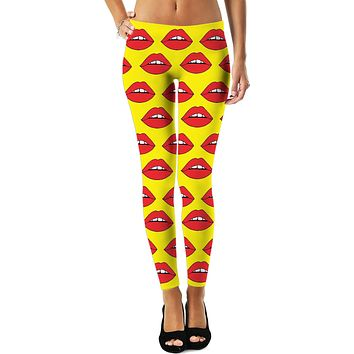 Red Lips Yellow Leggings