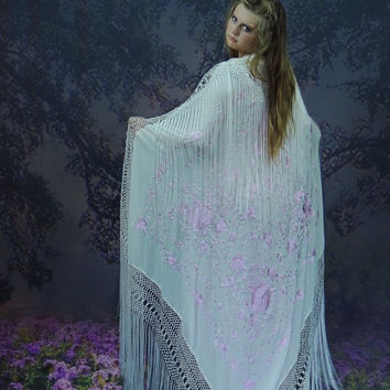 Ethereal embroidered silk piano shawl /enormous white & pink fringed oriental handmade manton / bridal wrap / deco boho wedding