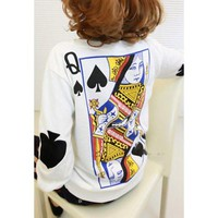 White Poker Pattern Print Fleece Sweatshirt