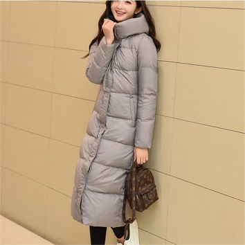 Korea 2017 New Fashion Winter Coat Hooded Thicken Long Casual Down Jacket Elegant Pure color Slim Big yards Women Coat G0313