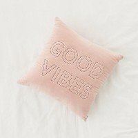 Good Vibes Velvet Throw Pillow | Urban Outfitters