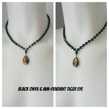 UNIQUE JEWELRY Black Onyx 6 mm,Custom Jewelry,Beaded Necklace,Men's Jewelry,Men's Beaded Necklaces,Unique Jewelry,