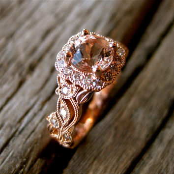 Salmon Peach Morganite Engagement Ring in 14K Rose Gold with Diamonds in Flower Buds & Leafs on Vine Motif Size 4.5