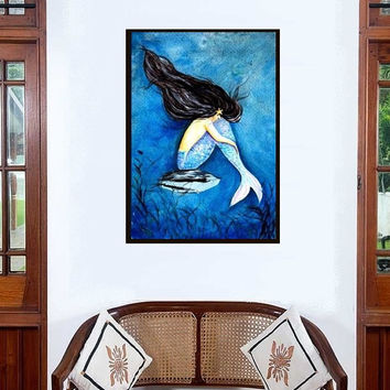 Mermaid tears painting Decor wall art Siren Livingroom Decal illustration abstract blue Sea room gift Sad crying mermaid back tail poster
