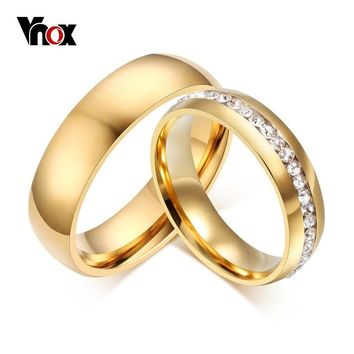 Vnox Gold-color Wedding Bands Ring for Women Men Jewelry 6mm Stainless Steel Engagement Ring US Size 5 to 13 Anniversary Gift