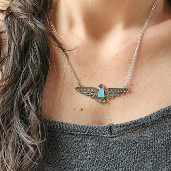 THUNDERBIRD/Eagle, spirit bird-silver tone Native necklace/Bohemian/Tribal/Southwestern/Free people style/Layering necklace