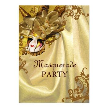 Golden Baroque Masquerade Party Personalized Invite