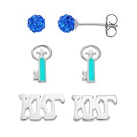 Sunstone 925 Sterling Silver Kappa Kappa Gamma Sorority Stud Earring Set (Blue)