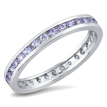1TCW Millennial Pink - Lavender Russian Lab Diamond Wedding Band Eternity Ring