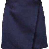 Navy Lux Satin Wrap Skirt