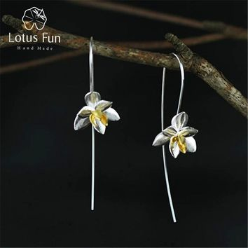 Lotus Fun Real 925 Sterling Silver Natural Original Handmade Fine Jewelry Cute Blooming Flower Fashion Drop Earrings for Women